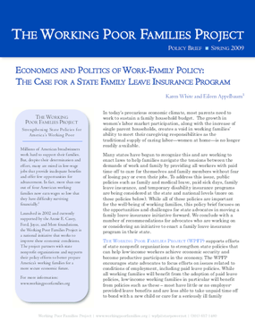 Economics and Politics of Work-Family Policy: The Case for a State Family Leave Insurance Program