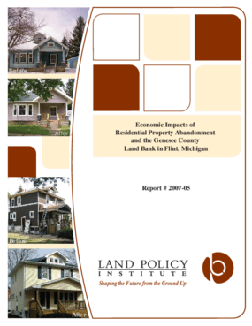 Economic Impacts of Residential Property Abandonment and the Genesee County Land Bank in Flint, Michigan