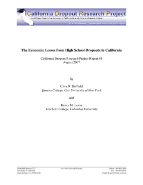The Economic Losses From High School Dropouts in California