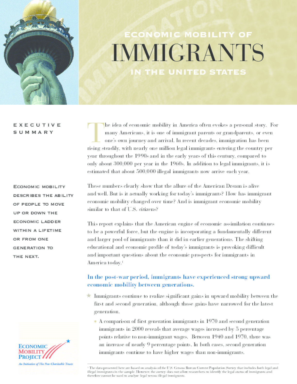 Economic Mobility of Immigrants in the United States