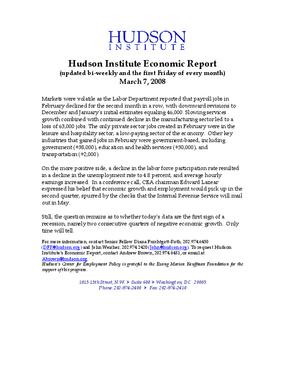 Hudson Institute Economic Report 03-07-2008