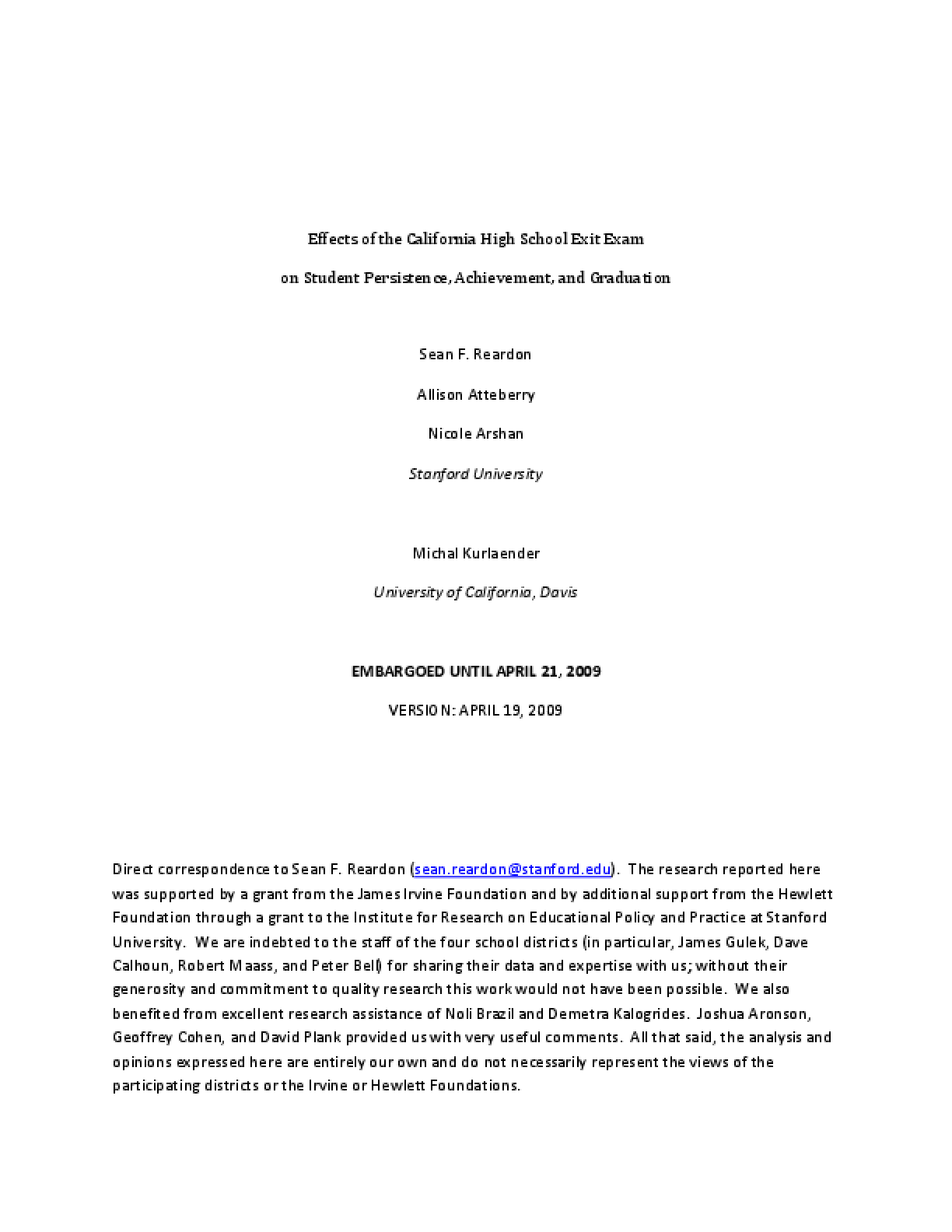 Effects of the California High School Exit Exam on Student Persistence, Achievement, and Graduation