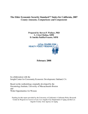 The Elder Economic Security Standard(TM) Index for California, 2007: County Amounts, Comparisons and Components