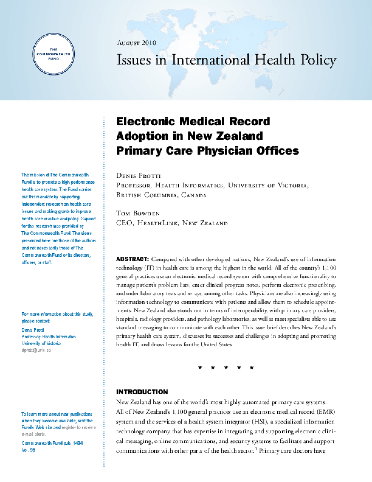 Electronic Medical Record Adoption in New Zealand Primary Care Physician Offices