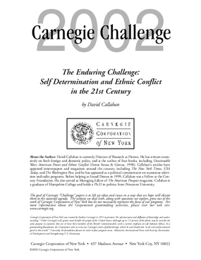 The Enduring Challenge: Self Determination and Ethnic Conflict in the 21st Century