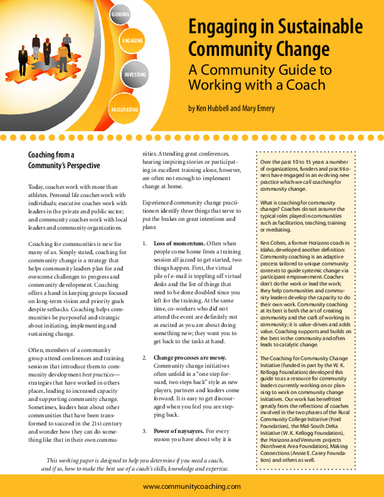 Engaging in Sustainable Community Change: A Community Guide to Working With a Coach
