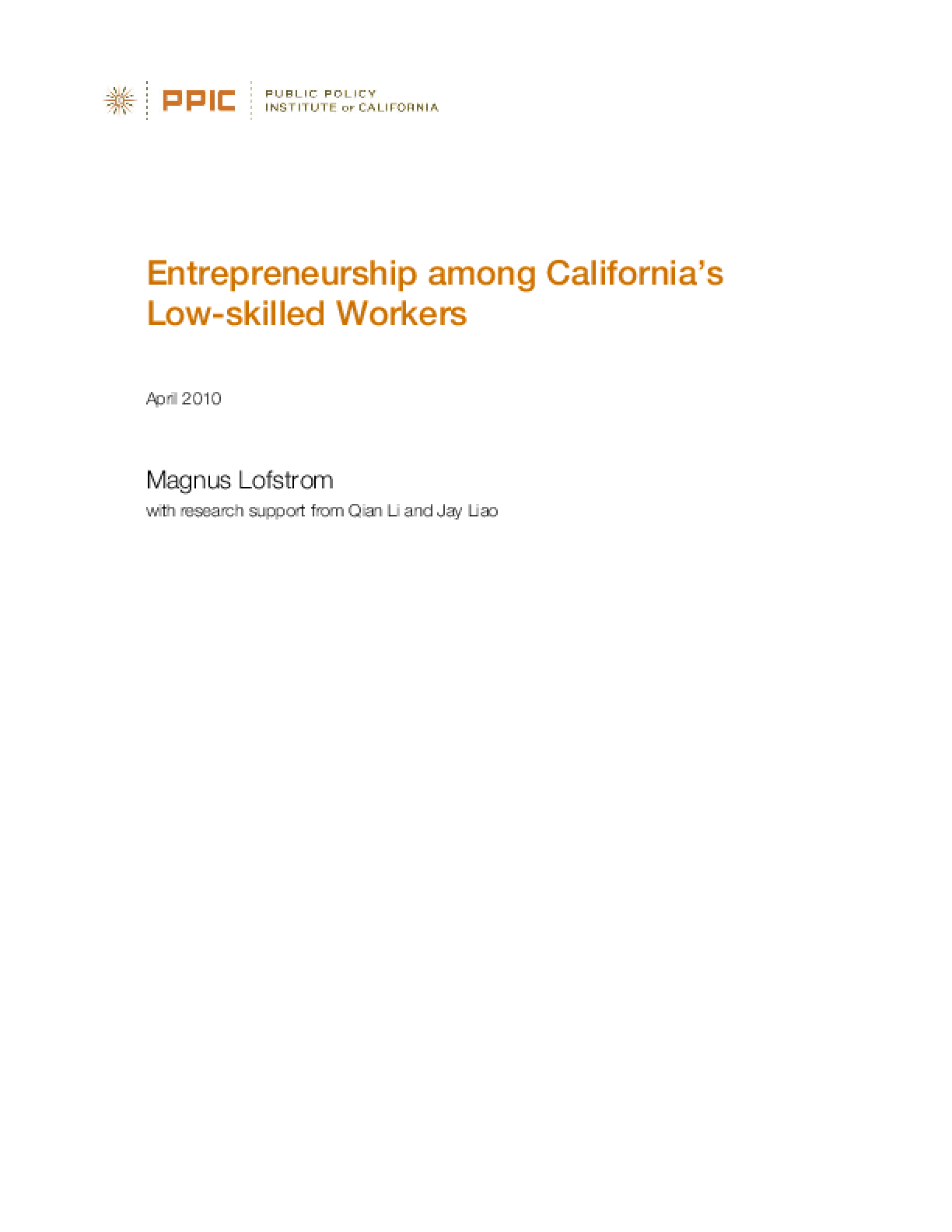 Entrepreneurship Among California's Low-Skilled Workers