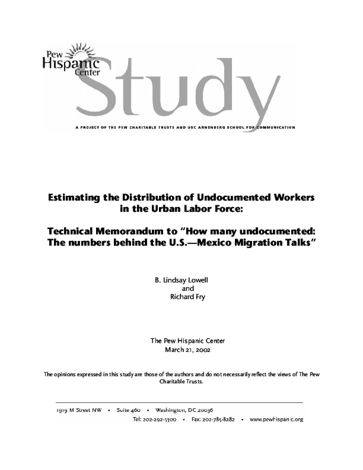 Estimating the Distribution of Undocumented Workers in the Urban Labor Force