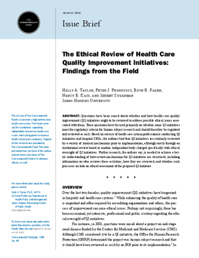 The Ethical Review of Health Care Quality Improvement Initiatives: Findings From the Field