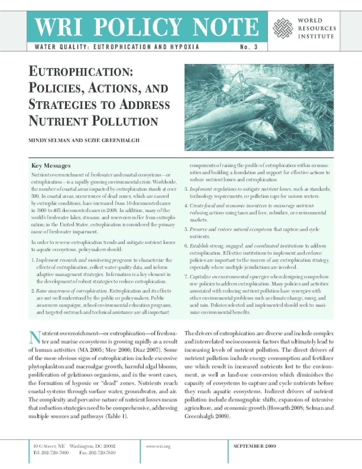 Eutrophication: Policies, Action, and Strategies to Address Nutrient Pollution