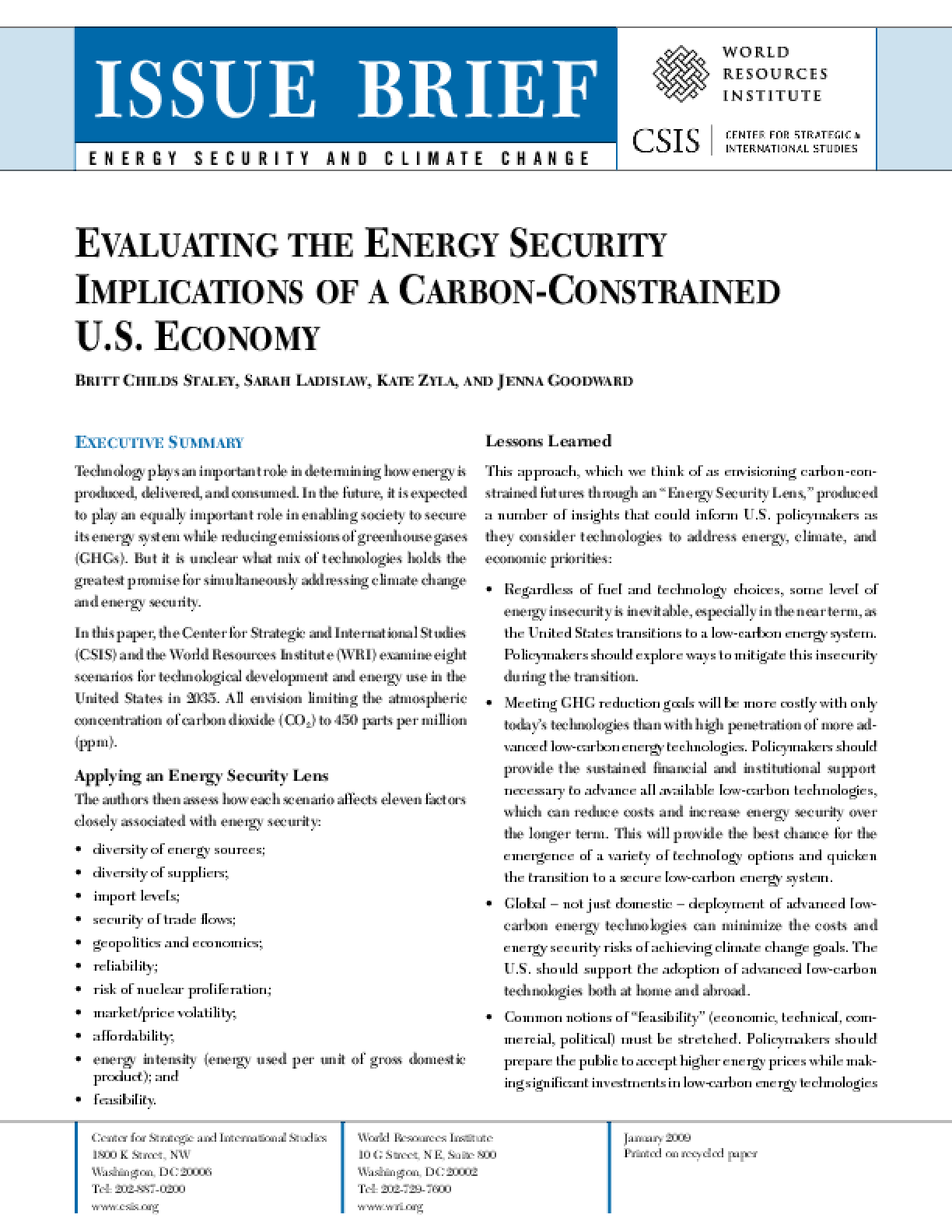 Evaluating the Energy Security Implications of a Carbon-Constrained U.S. Economy