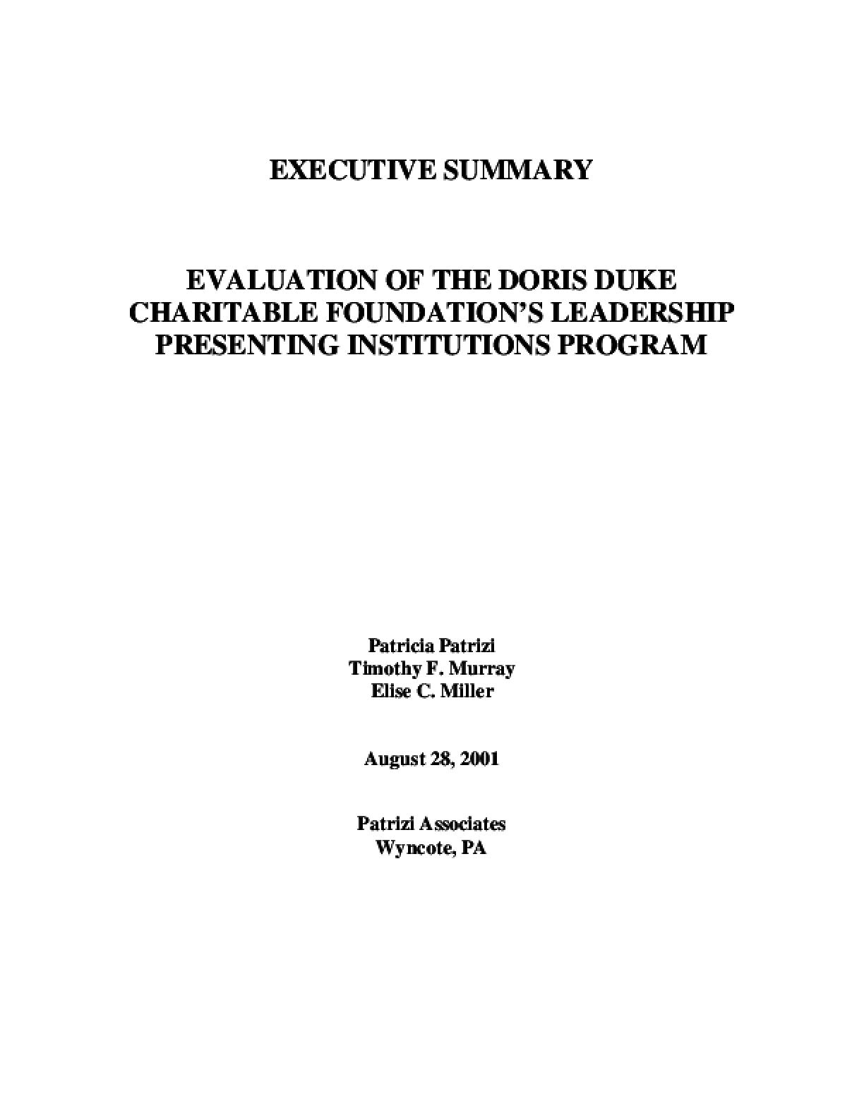 Evaluation of the Doris Duke Charitable Foundation's Leadership Presenting Institution Program: Executive Summary