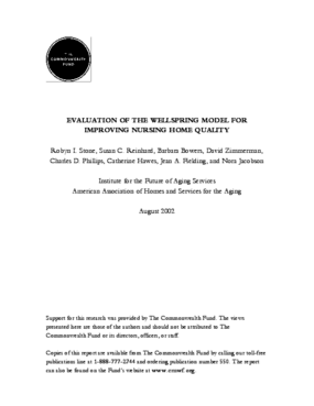 Evaluation of the Wellspring Model for Improving Nursing Home Quality