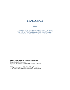 EvaluLEAD A Guide for Shaping and Evaluating Leadership Development Programs