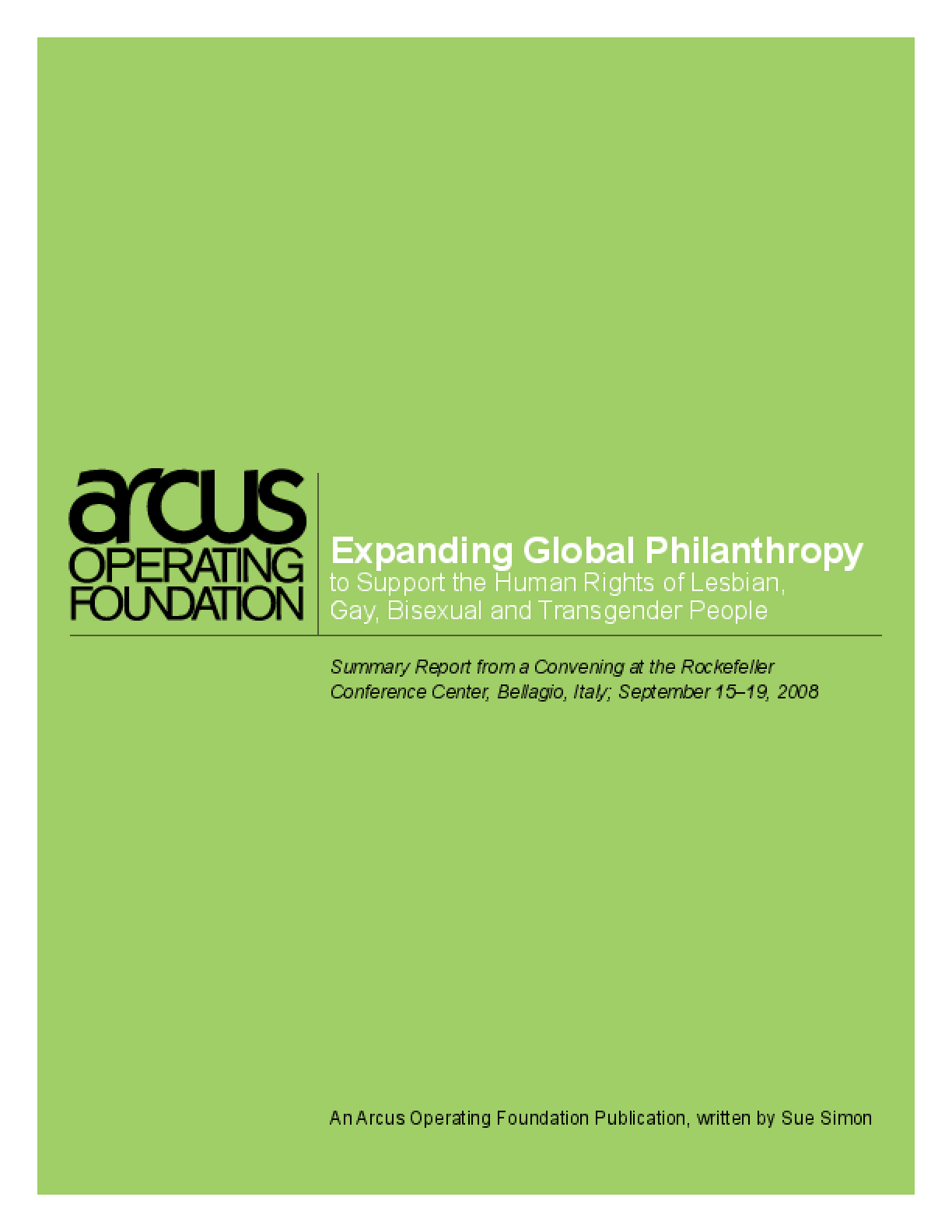 Expanding Global Philanthropy to Support the Human Rights of Lesbian, Gay, Bisexual and Transgender People