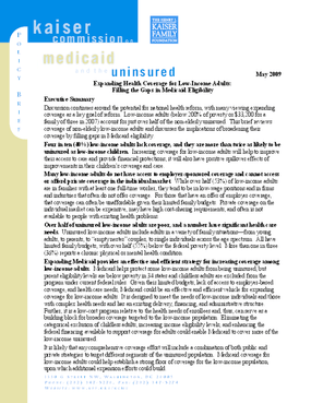 Expanding Health Coverage for Low-Income Adults: Filling the Gaps in Medicaid Eligibility