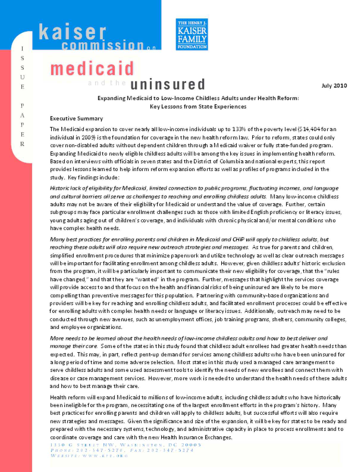 Expanding Medicaid to Low-Income Childless Adults Under Health Reform: Key Lessons From State Experiences