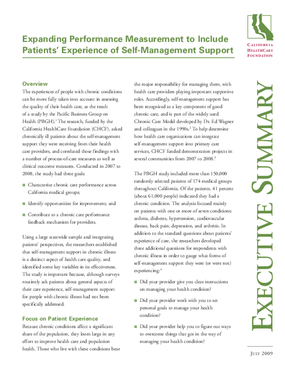 Expanding Performance Measurement to Include Patients' Experience of Self-Management Support