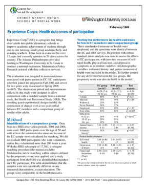 Experience Corps: Health Outcomes of Participation
