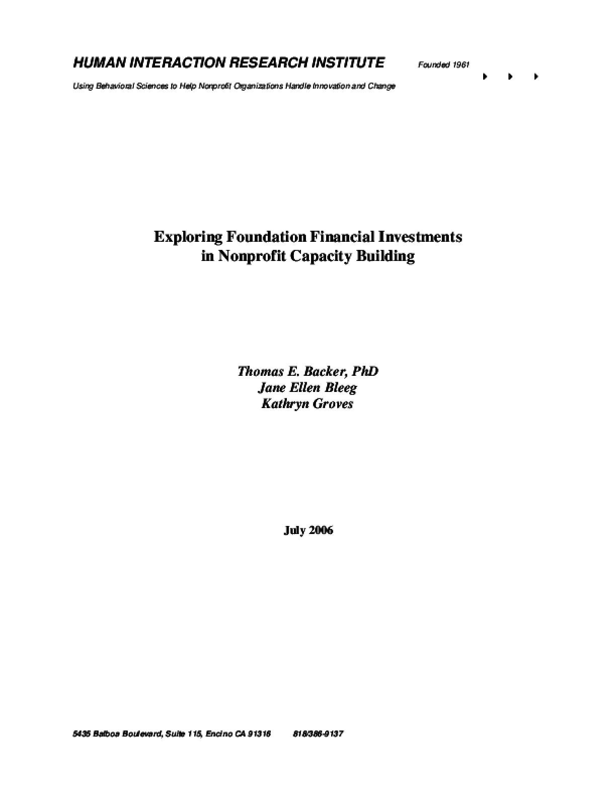 Exploring Foundation Financial Investments in Nonprofit Capacity Building