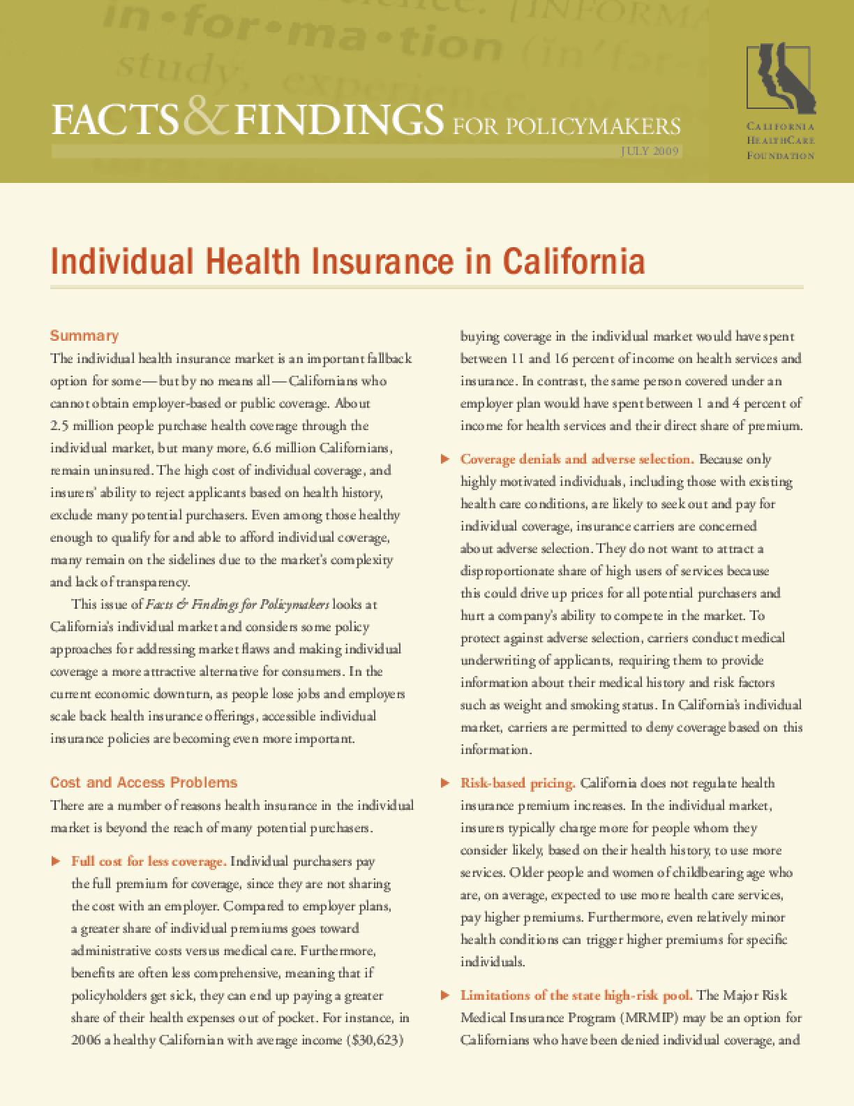 Facts and Findings for Policymakers: Individual Health Insurance in California