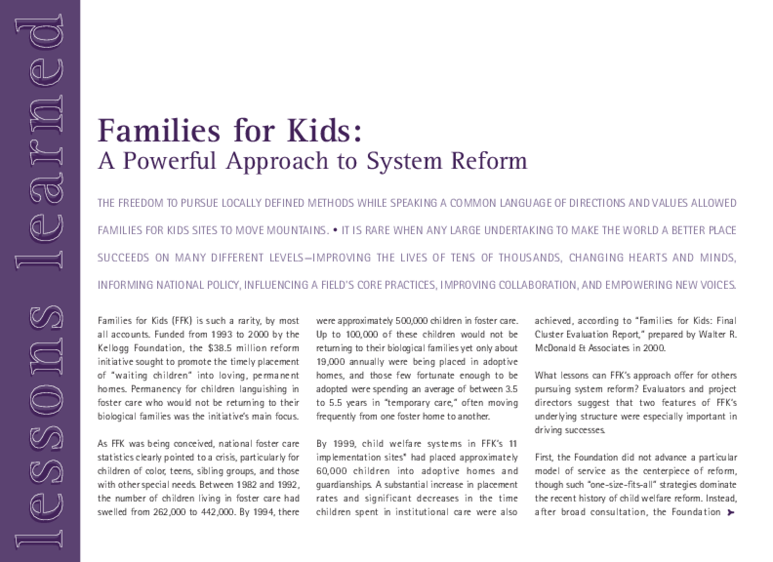 Families for Kids: A Powerful Approach to System Reform