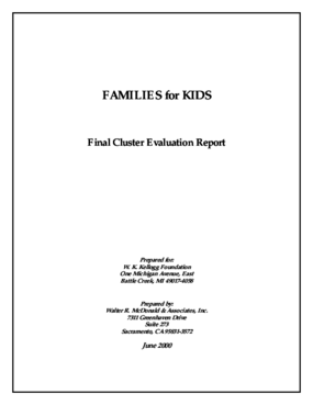 Families for Kids Final Cluster Evaluation Report