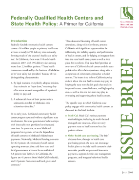 Federally Qualified Health Centers and State Health Policy: A Primer for California