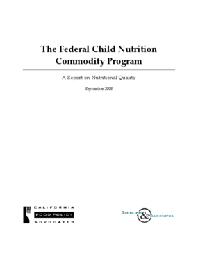 The Federal Child Nutrition Commodity Program: A Report on Nutritional Quality