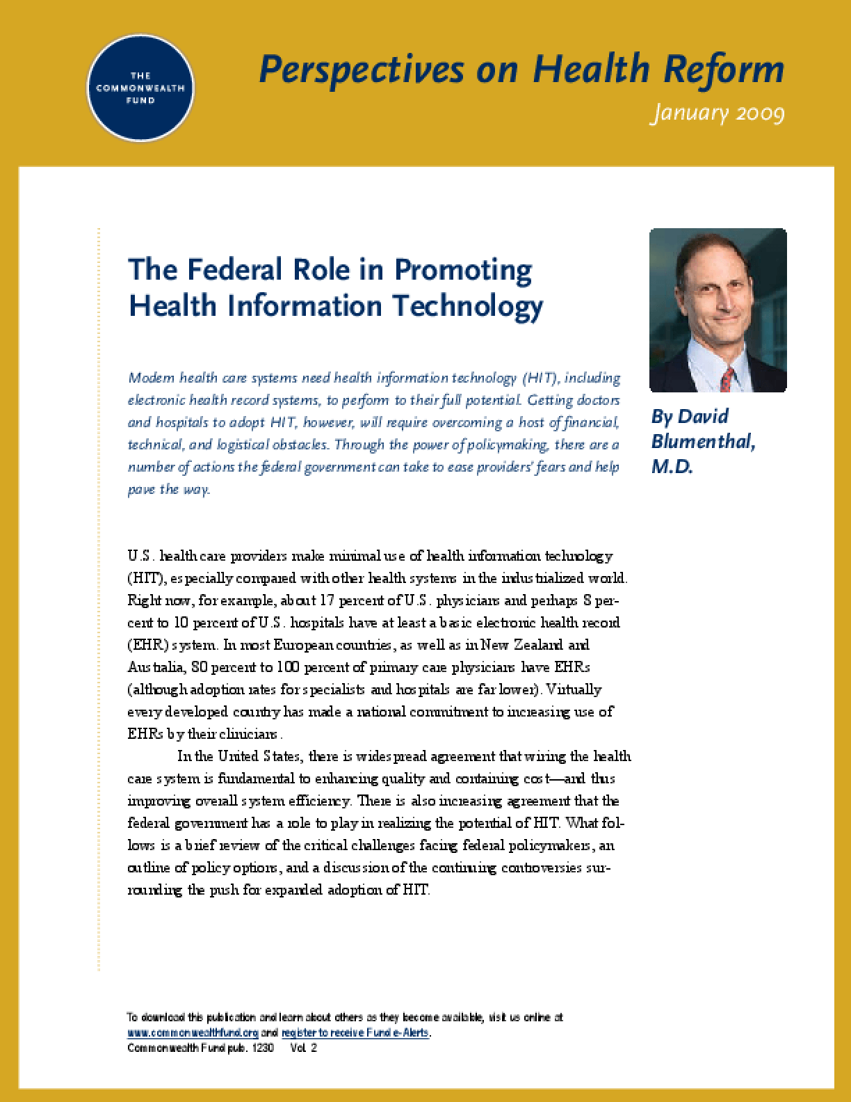 The Federal Role in Promoting Health Information Technology