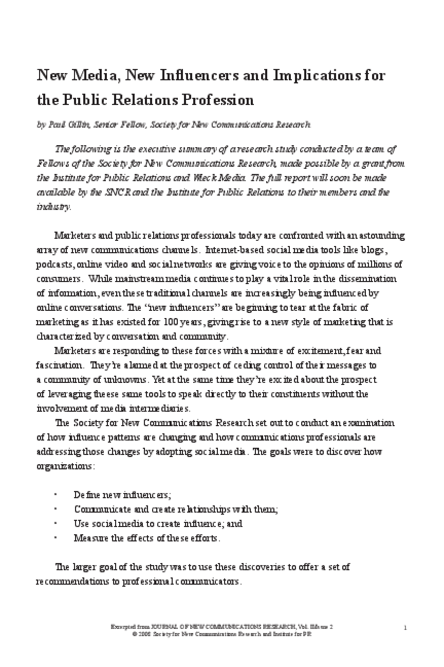 SNCR New Influencers Study