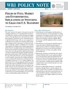 Fields of Fuel: Market and Environmental Implications of Switching to Grass for U.S. Transport