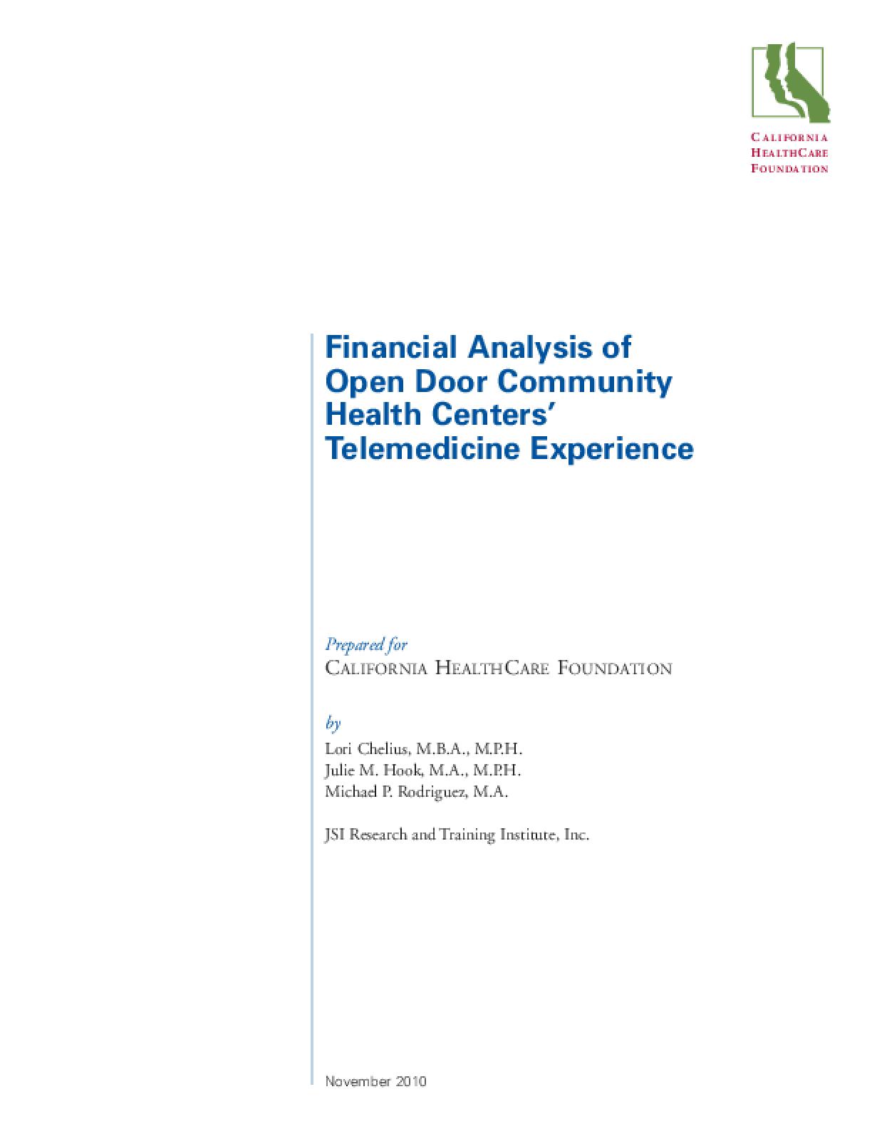 Financial Analysis of Open Door Community Health Center's Telemedicine Experience