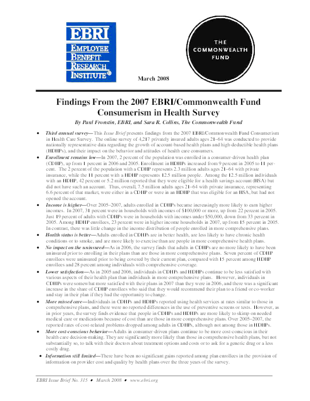 Findings From the 2007 EBRI/Commonwealth Fund Consumerism in Health Survey