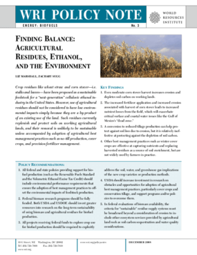 Finding Balance: Agricultural Residues, Ethanol, and the Environment