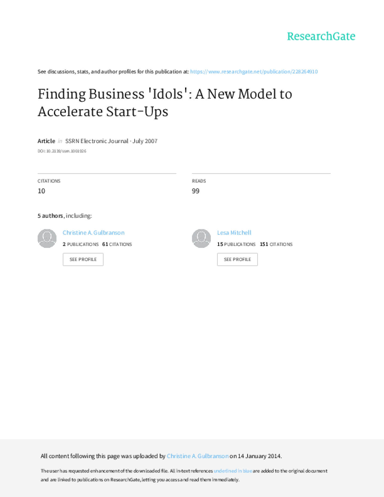 """Finding Business """"Idols"""": A New Model to Accelerate Start-Ups"""
