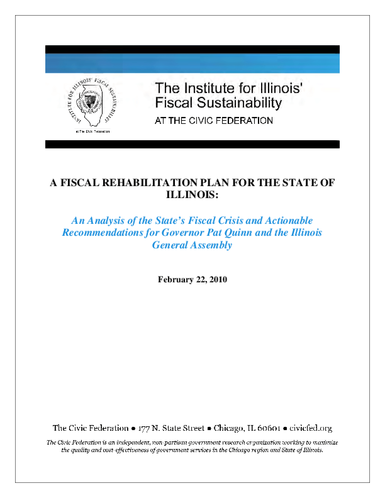 A Fiscal Rehabilitation Plan for the State of Illinois
