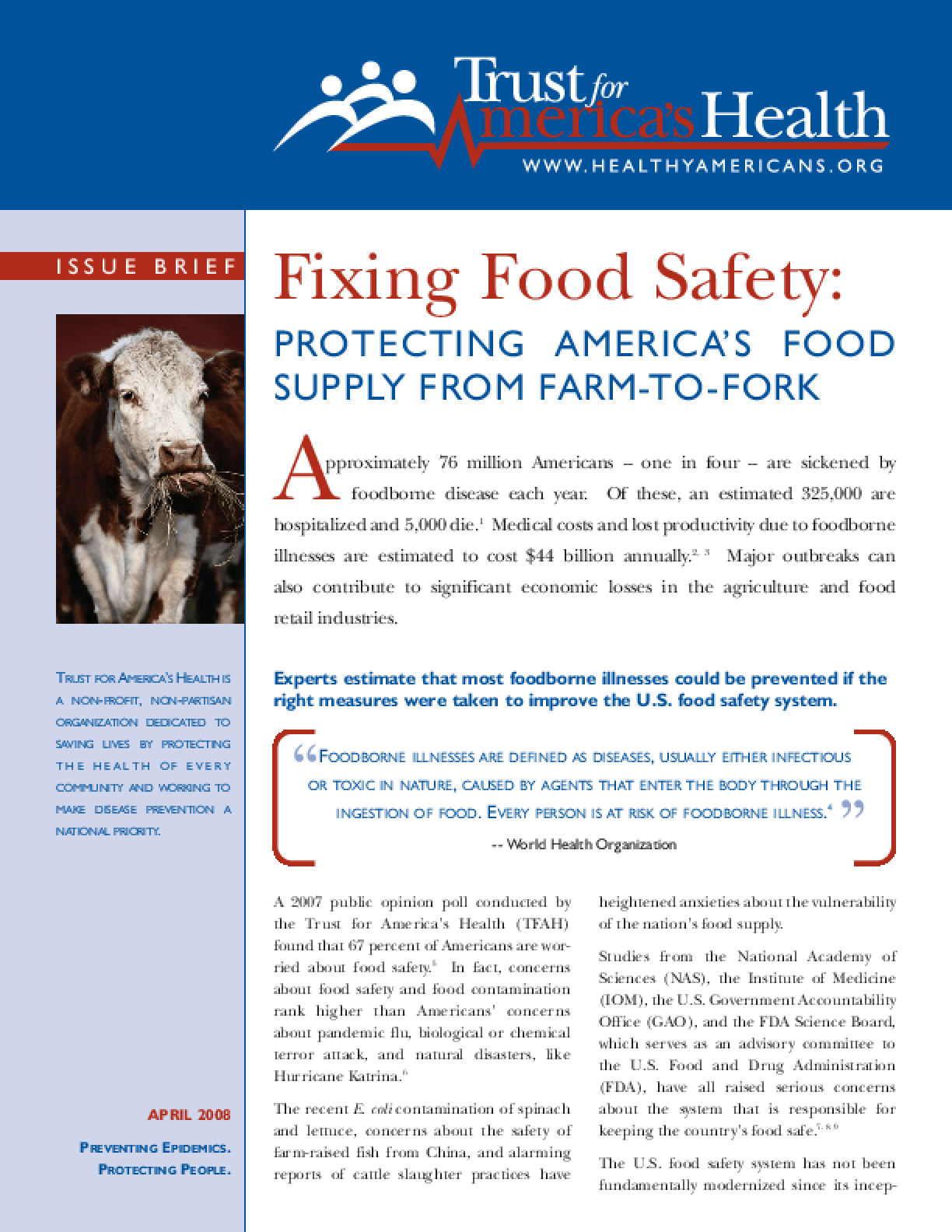 Fixing Food Safety: Protecting America's Food Supply From Farm-to-Fork