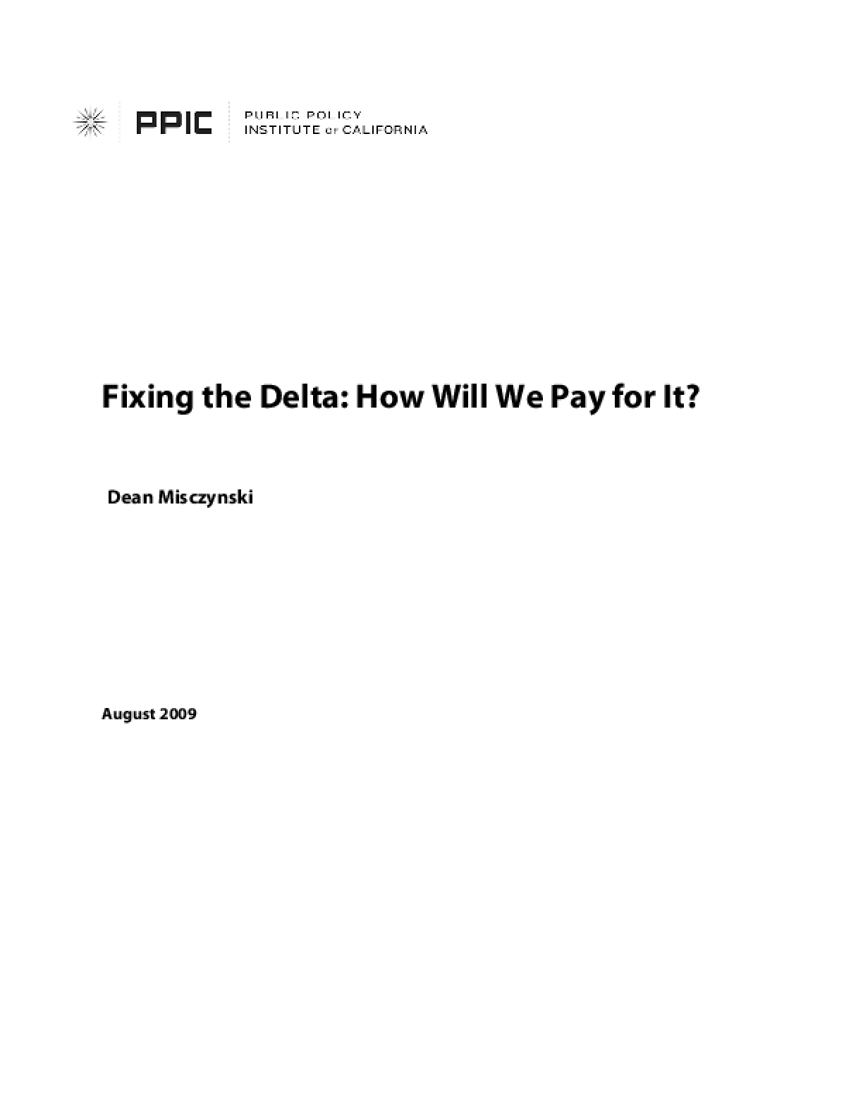 Fixing the Delta: How Will We Pay for It?