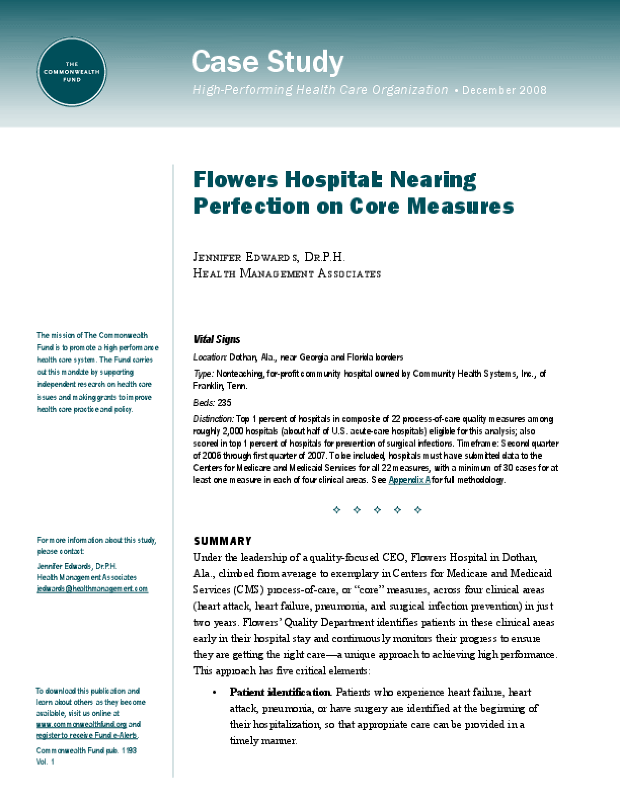 Flowers Hospital: Nearing Perfection on Core Measures
