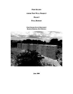 Fort Selden Adobe Test Wall Project, Phase I, Final Report