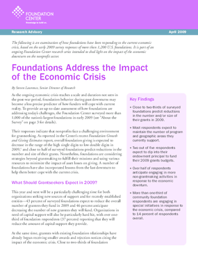 Foundations Address the Impact of the Economic Crisis