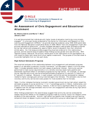 An Assessment of Civic Engagement and Educational Attainment