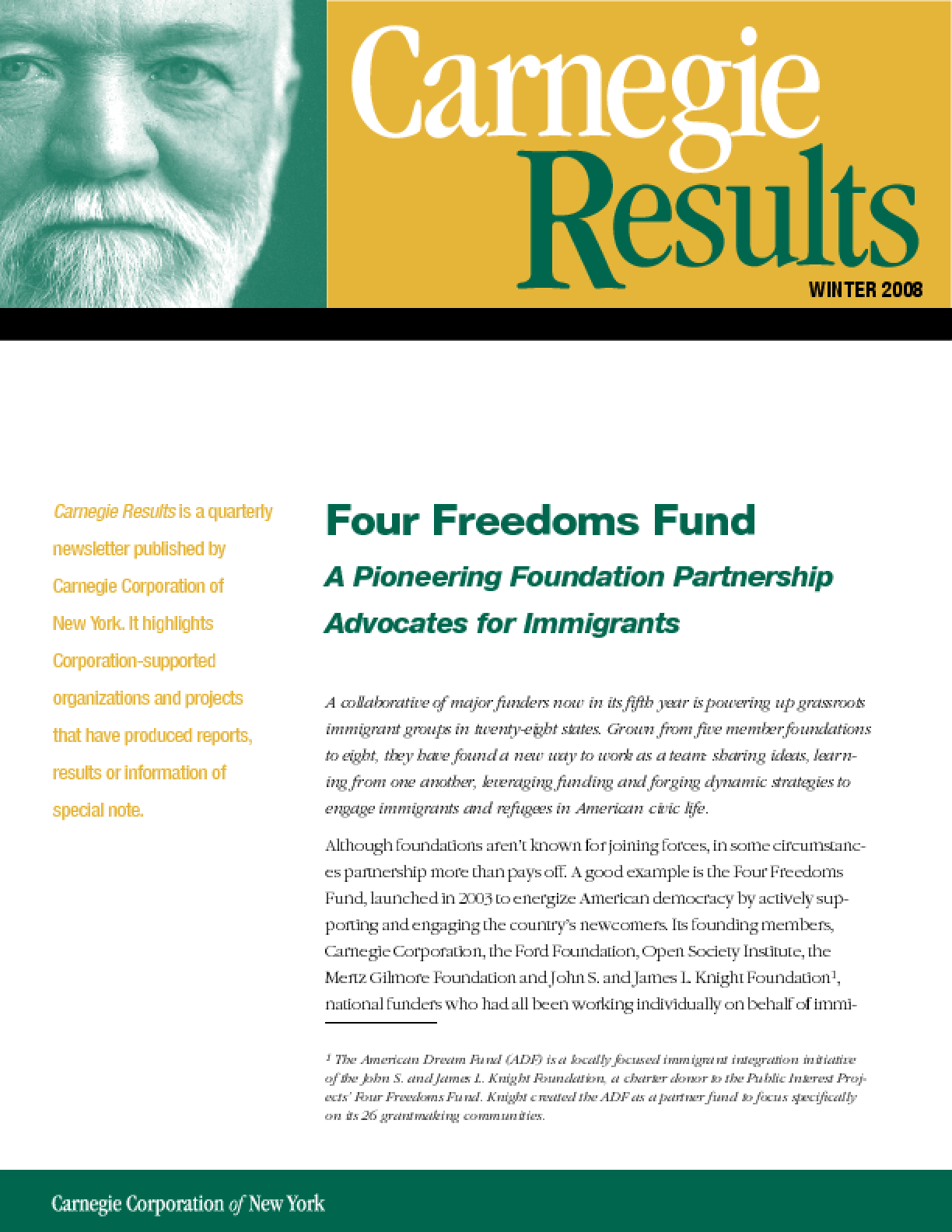 Four Freedoms Fund: A Pioneering Foundation Partnership Advocates for Immigrants