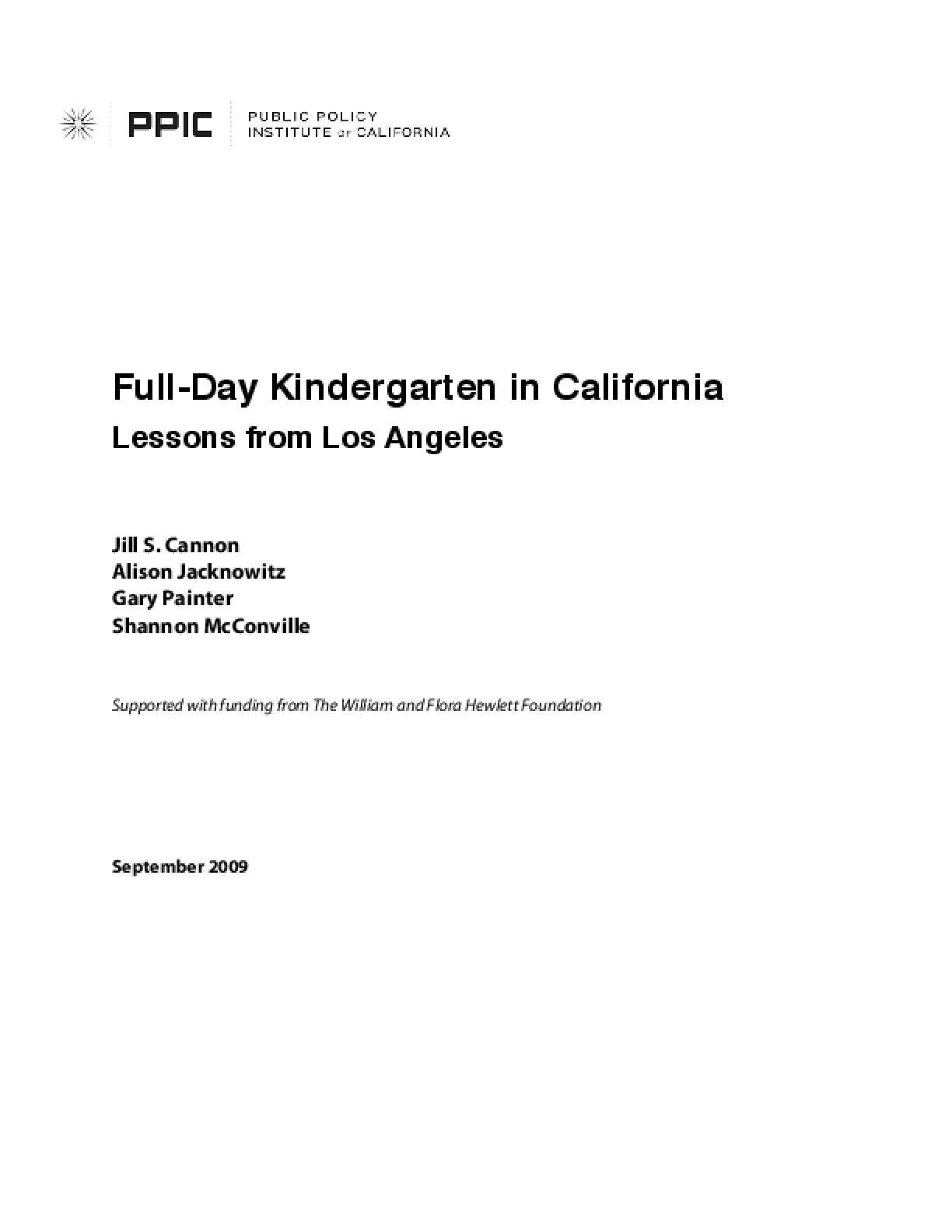 Full-Day Kindergarten in California: Lessons From Los Angeles