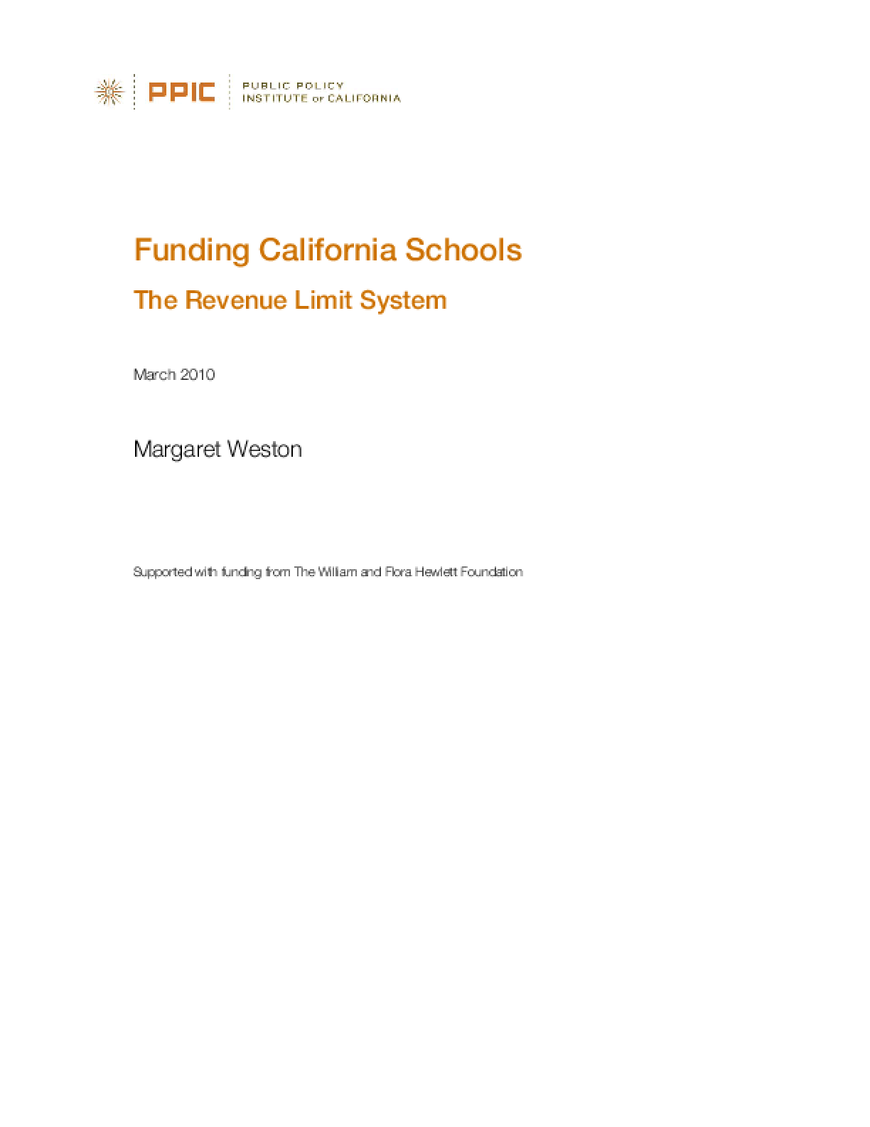 Funding California Schools: The Revenue Limit System