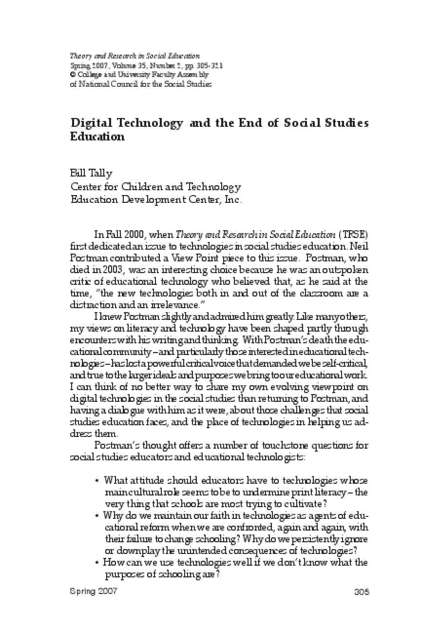 Digital Technology and the End of Social Studies Education
