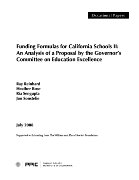 Funding Formulas for California Schools II: An Analysis of a Proposal by the Governor's Committee on Education Excellence