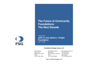 The Future of Community Foundations: The Next Decade