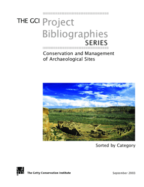 GCI Conservation and Management of Archaeological Sites Bibliography